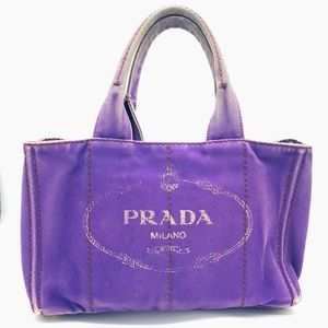 PRADA Canvas Purple Tote Bag